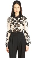 Oscar de la Renta Chantilly Blouse with Guipure Appliqué - Lyst