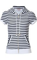 Juicy Couture Short Sleeve Striped Hoodie - Lyst