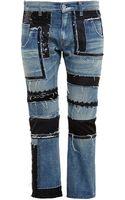 Junya Watanabe Multi Fabric Cropped Jeans - Lyst