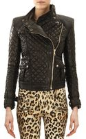 Balmain Quilted Leather Moto Jacket Noir Black - Lyst