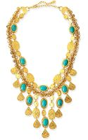 Jose & Maria Barrera 24k Gold Plate  Turquoise Bib Necklace - Lyst