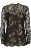 Oscar de la Renta Chantilly Lace Top - Lyst