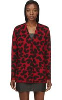 Saint Laurent Red and Black Oversized Heart Print Cardigan - Lyst