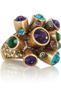 Oscar de la Renta Crystal Cluster Goldplated Ring - Lyst