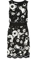 Oscar de la Renta Embellished Chantilly Lace and Faille Dress - Lyst