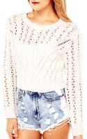 Akira Black Label Cable Knit Crop Sweater in Cream - Lyst