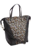 Kelsi Dagger Black Leather Leopard Print Abbey Tote Bag - Lyst