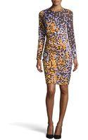 Halston Heritage Pixel Print Tuck-pleated Dress - Lyst
