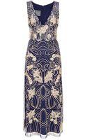 Monique Lhuillier Embroidered V-neck Dress - Lyst