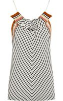 Chloé Ruffled Striped Washedsatin Top - Lyst
