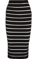 Balmain Striped Bandage Midi Skirt - Lyst