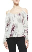 Free People Adelia Rose-print Cold-shoulder Blouse - Lyst