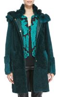 Escada Reversible Hooded Shearling Fur Coat - Lyst