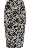 River Island Black Floral Print Pencil Skirt - Lyst