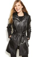 Anne Klein Quilted Belted Leather Coat - Lyst