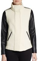 Generation Love Fauxleather Paneled Textured Jacket - Lyst