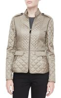 Burberry London Quilted Zip Peplum Jacket Smoke Trench  - Lyst