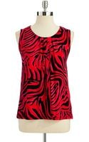Anne Klein Sleeveless Zebra Print Top - Lyst