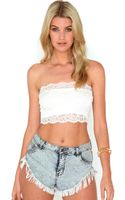 Missguided Delphine Lace Bandeau Top in Cream - Lyst