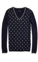 Tommy Hilfiger V-neck Dot Sweater - Lyst