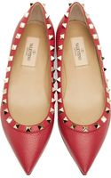 Valentino Raspberry Leather Rockstud Ballerina Flats - Lyst