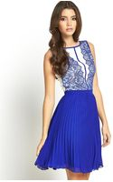 Little Mistress Lace and Pleated Skater Dress - Lyst