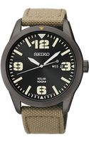 Seiko Mens Solar Beige Nylon Strap Watch 43mm Sne331 - Lyst