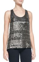 Parker Ginger Beaded Sequin Stripe Tank Gunmetal Silver Xs - Lyst