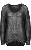 Dex Long Sleeve Mesh Sweater - Lyst