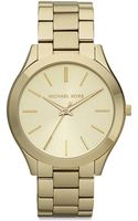 Michael Kors Slim Runway Goldtone Stainless Steel Bracelet Watch - Lyst