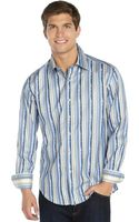 Robert Graham Blue and Brown Multidesign Stripe Cotton Long Sleeve Shirt - Lyst