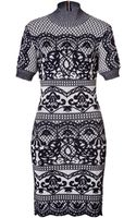 Alberta Ferretti Wool Intarsia Knit Sweater Dress - Lyst
