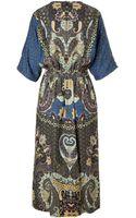Etro Woolsilk Lam Peasant Dress - Lyst