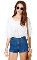 Nasty Gal Float On Crop Top White - Lyst