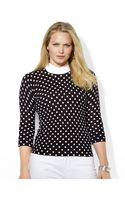 Lauren by Ralph Lauren Plus Collared Striped Crewneck Sweater - Lyst