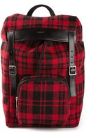 Saint Laurent Plaid Backpack - Lyst