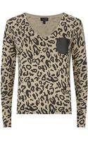 Armani Jeans Leopard Print Leather Pocket Sweater - Lyst