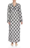 Oscar De La Renta Sleepwear Plaid Cotton Caftan - Lyst