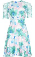 Matthew Williamson Graphic Floral Print Jersey Lace Sleeve Dress - Lyst