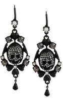 Betsey Johnson Black-tone Crystal Ornate Skull Drop Earrings - Lyst