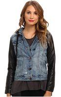 Blank Denim Jacket W Vegan Leather Sleeves in Ripped Off - Lyst