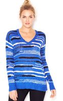 Kensie Long-sleeve V-neck Striped Sweater - Lyst