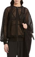 Gucci Black Perforated Suede Bomber Jacket - Lyst