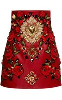 Dolce & Gabbana Rosso Embellished Leather Mini Skirt - Lyst