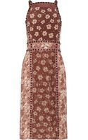 Bottega Veneta Snaketrimmed Crepe and Silk Dress - Lyst