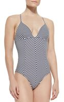Tory Burch Clemente Striped One-piece Swimsuit - Lyst