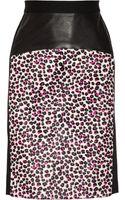 DKNY Leopardprint Calf Hair and Ponte Pencil Skirt - Lyst
