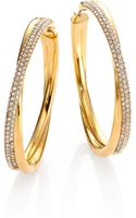 Michael Kors Brilliance Statement Pave Crossover Goldtone Hoop Earrings175 - Lyst