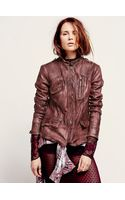 Free People Rumpled Leather Blazer - Lyst