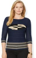 Lauren by Ralph Lauren Plus Cotton Balletneck Top - Lyst